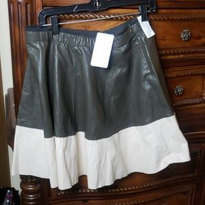 Pleather  brown an Beige A Line Skater Skirt